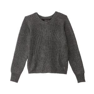 Пуловер с круглым вырезом, люверсами сзади и отделкой металлизированной нитью KAPORAL. Цвет: темно-серый металлик