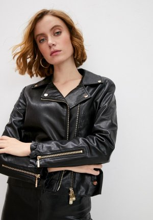 Куртка кожаная Blugirl Folies. Цвет: черный