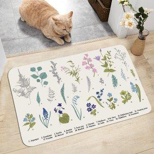 Напольный коврик с цветочным принтом SHEIN. Цвет: многоцветный