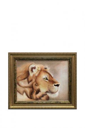 Картина Голова льва Живой шелк. Цвет: коричневый, бежевый