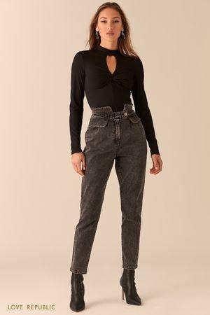 Серые джинсы с фигурным широким поясом LOVE REPUBLIC