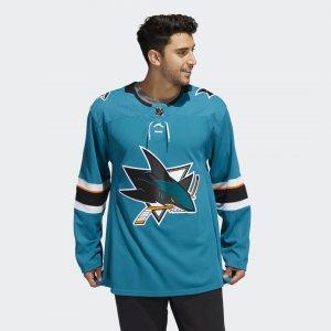 Оригинальный хоккейный свитер Sharks Home Performance adidas. Цвет: синий