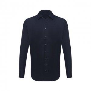 Льняная рубашка Giorgio Armani. Цвет: синий