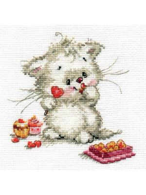 Набор для вышивания Сладкая конфетка  13х13 см. Алиса. Цвет: белый, розовый, серый