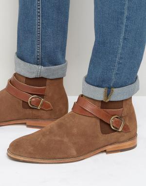 Замшевые ботинки с пряжками Le Melomane Bobbies. Цвет: рыжий
