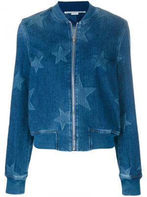 Джинсовая куртка-бомбер Stars Stella McCartney. Цвет: синий