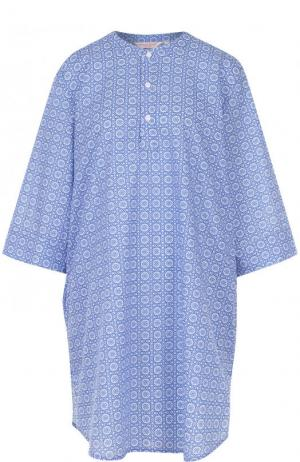 Хлопковая сорочка свободного кроя с принтом Derek Rose. Цвет: голубой