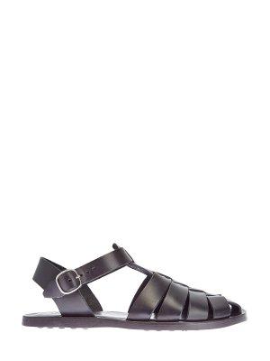 Легкие сандалии из окрашенной вручную кожи MORESCHI. Цвет: черный