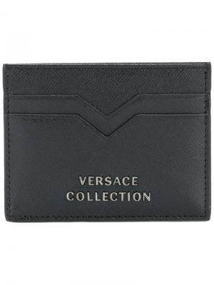 Визитница из сафьяновой кожи Versace Collection. Цвет: чёрный