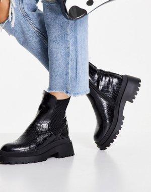 Массивные черные ботинки челси с эффектом крокодиловой кожи -Черный цвет New Look