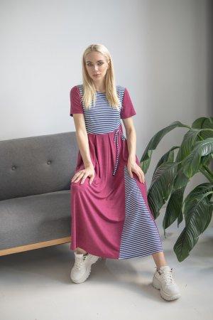 Платье Adzhedo. Цвет: фуксия, сине-белая полоса