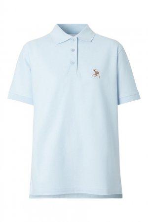 Голубое хлопковое поло Burberry. Цвет: голубой