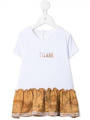 Расклешенная футболка с принтом Alviero Martini Kids. Цвет: коричневый