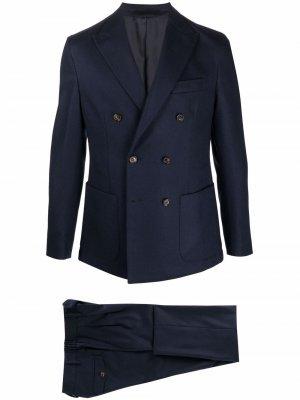 Костюм-двойка с двубортным пиджаком Eleventy. Цвет: синий
