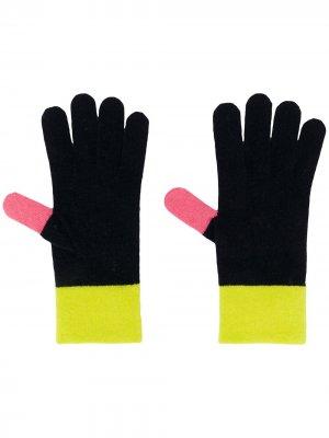 Трикотажные перчатки с контрастными вставками Chinti and Parker. Цвет: синий