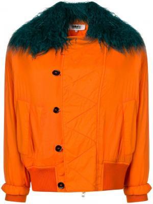 Куртка-бомбер с отделкой из искусственного меха Mm6 Maison Margiela