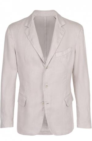Льняной приталенный пиджак 120% Lino. Цвет: бежевый