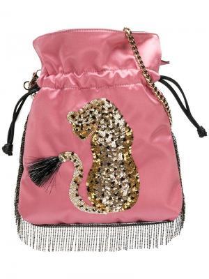 Сумка на шнурке с изображением леопарда пайетками Les Petits Joueurs