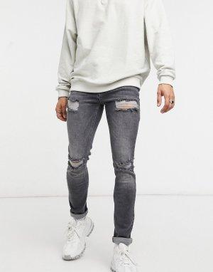 Выбеленные черные рваные джинсы скинни -Синий ASOS DESIGN