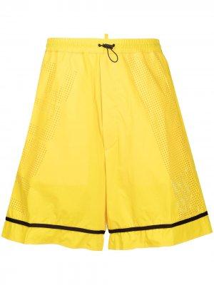 Спортивные шорты с перфорацией логотипа Dsquared2. Цвет: желтый