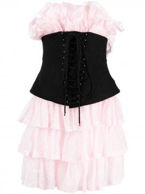 Многослойное платье Philosophy Di Lorenzo Serafini. Цвет: розовый