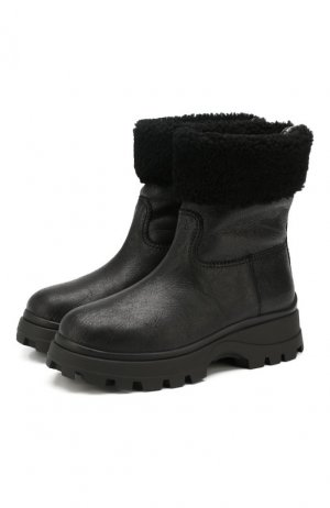 Кожаные сапоги Miu. Цвет: черный