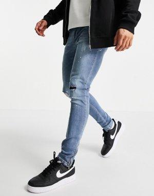 Светло-голубые зауженные джинсы со рваной отделкой -Голубой Brave Soul