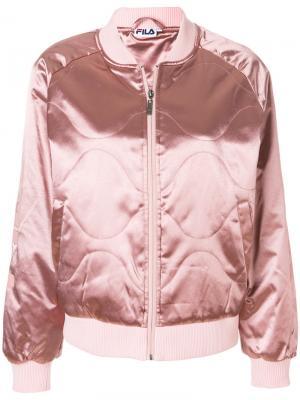 Стеганая куртка-бомбер Fila. Цвет: розовый и фиолетовый