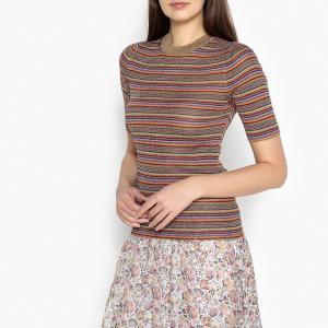 Пуловер в рубчик с короткими рукавами SWANG BA&SH. Цвет: разноцветный