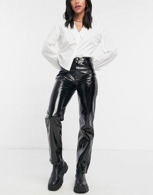 Черные брюки прямого кроя из виниловой искусственной кожи -Черный River Island