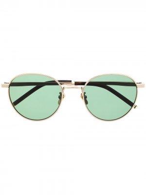 Солнцезащитные очки Stevie в круглой оправе Mulberry. Цвет: зеленый