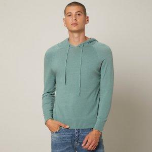 Мужской свитер на кулиске с капюшоном SHEIN. Цвет: кадетский синий