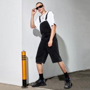Мужской Шорты на подтяжках рваный с открытой спиной джинсовый SHEIN. Цвет: чёрный
