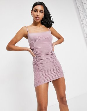 Розовато-лиловое платье-майка мини со сборками -Фиолетовый цвет Femme Luxe
