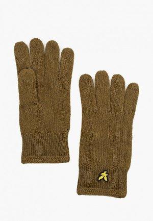 Перчатки Lyle & Scott Racked Rib Glove. Цвет: хаки