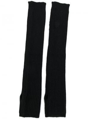 Высокие вязаные митенки Rick Owens. Цвет: чёрный
