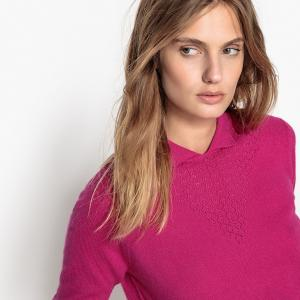 Пуловер из кашемира с воротником-поло LA REDOUTE COLLECTIONS. Цвет: фуксия