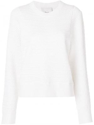 Пуловер с плетеным эффектом 3.1 Phillip Lim. Цвет: белый