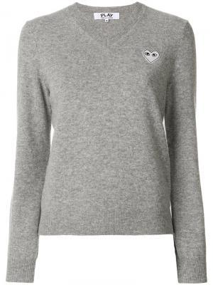 Пуловер с V-образным вырезом Comme Des Garçons Play. Цвет: серый