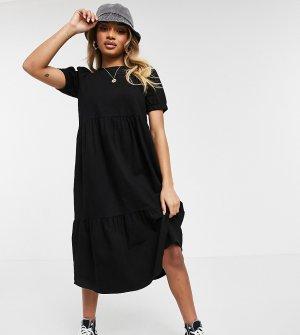Черное джинсовое платье миди с присборенной юбкой -Черный цвет Noisy May Petite