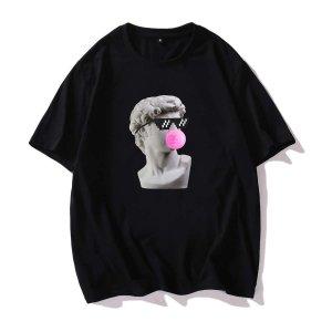 Мужская футболка с короткими рукавами и статуэткой SHEIN. Цвет: чёрный