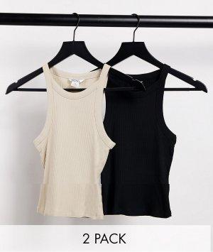Набор из двух маек черного и бежевого цвета органического хлопка Edda-Многоцветный Monki