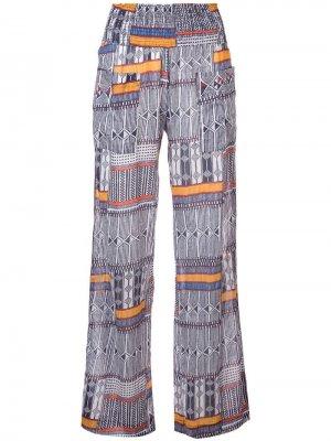 Пляжные брюки Kente с принтом lemlem. Цвет: синий