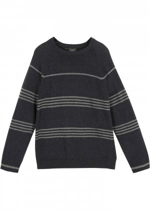 Пуловер в полоску для мальчика bonprix. Цвет: серый