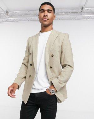 Бежевый супероблегающий двубортный пиджак ASOS DESIGN