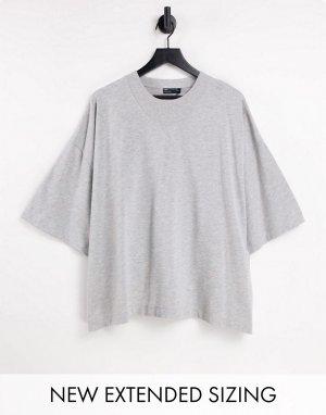 Oversized-футболка серого меланжевого цвета с оригинальной горловиной и рукавами до локтя -Серый ASOS DESIGN