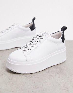 Белые кроссовки на платформе с черной вставкой заднике -Белый Ash