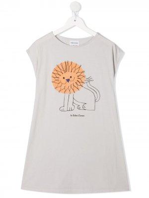 Платье-футболка с принтом Bobo Choses. Цвет: серый