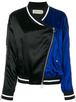 Куртка-бомбер со вставкой и вышивкой Each X Other. Цвет: синий