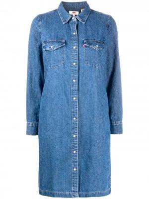 Levis джинсовое платье-рубашка Levi's. Цвет: синий
